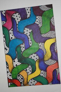 Woven Rainbow ~ Original Art by Pamela N. Brown ~ Sharpie Art