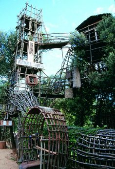 Known locally as 'wild park' or 'wild village' in northwestern Catalunya, Spain, seven soaring towers, innumerable bridges, shelters, walkways, and a labyrinth, 1.5 kilometers long, were all created by the labor of Josep Pujiula i Vila. In RV 40. http://rawvision.com/articles/josep-pujiula-i-vila