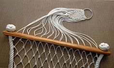Hammock with ash wood stays hand netted in cotton seine twine and side ropes in cotton with manrope end knots. Macrame Art, Macrame Design, Macrame Jewelry, Diy Hammock, Rope Hammock, Hammocks, 3d Printing Diy, How To Make Rope, Rope Crafts