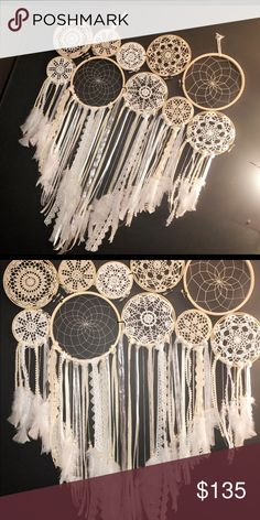 """10 hoop Dream catcher All are made unique!! Check out my page for more Dream catchers ! I can make smaller or larger . Will be separated for shipping purposes. You can glue or zip tie together ! Dimension length 31"""" x width 2"""" x height 15"""" Follow me on Insta @Savvysdreamcatchers Other"""