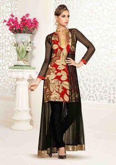 Designer Black Net and Georgette Readymade Salwar Kamiz (CATALOG - 5501)