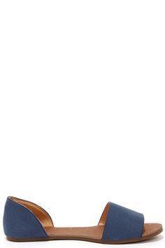 Atlantic Seaboard Denim Blue Peep Toe Flats at Lulus.com!