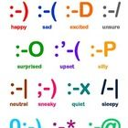 Free! text message emotions....This poster displays a range of emotions accompanied with a matching emoticon in text form.