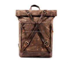 Leather Canvas Backpack (4) Waxed Canvas, Canvas Leather, Leather Bag, Canvas Backpack, Laptop Backpack, Hard Wear, Travel Bags, Double Knitting, Clothing Company