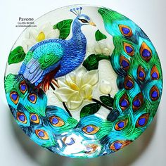 Pavone Large Textured Glass Bowl-Greatly enhance your living environment with one of our largest glass art bowls. An impressive male peafowl perched among magnolia blooms makes this textured glass art a unique and memorable decorative accessory. Peacock Decor, Peacock Colors, Peacock Art, Peacock Design, Peacock Feathers, Tuscan Design, Tuscan Style, Peacock Drawing, Mediterranean Home Decor