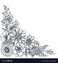 Floral backgrounds with hand drawn flowers and vector image on VectorStock Butterfly With Flowers Tattoo, Hand Drawn Flowers, Sketch Background, Flower Tattoo Drawings, Logos Retro, Pop Art Wallpaper, Wreath Drawing, Floral Tattoo Design, Flower Sketches