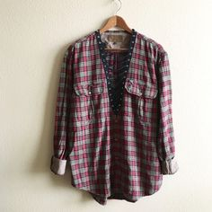 Loggers Flannel Perfectly worn in vintage flannel shirt, laced down the center. One of a kind!  MEASUREMENTS: Chest Length  *Listed as LF for views. *Price firm unless bundled.  ☠ No trades  Check out my closet for more vintage! LF Tops