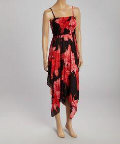 Black & Orange Shirred Handkerchief Dress #zulily #zulilyfinds