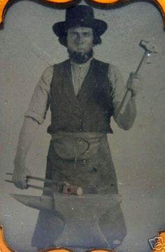 Blacksmith in workman's cravat, antique photograph. This is probably how my 3xgreat-grandfather looked ~ he was a blacksmith.