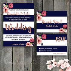 Rose Gold Wedding Invitation Set Printable Wedding by BohemePrints #rosegold…
