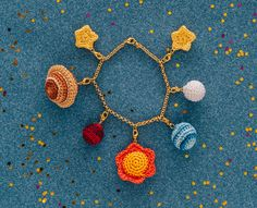 You are my sun moon and stars. Crochet your own mini galaxy charms, to make a beautiful bracelet.