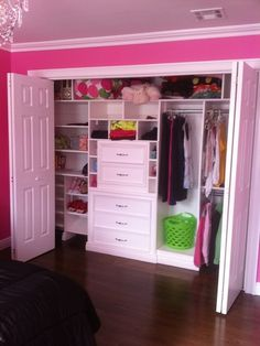 Walk In Closet, Traditional Closet....need to do this for the girls closets! Closet Redo, Hall Closet, Closet Ideas, Walk In Closet Design, Kid Closet, Closet Designs, Closet Bedroom, Shared Closet, Wardrobe Design