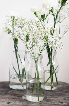 Inexpensive,fast way to add a little ambiance. Green Flowers, White Flowers, Beautiful Flowers, Floral Centerpieces, Floral Arrangements, Flower Power, Bloom Where Youre Planted, Beautiful Interior Design, White Gardens