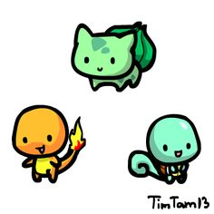 Chibi Kanto Pokemon Starters  Created by TimTam13