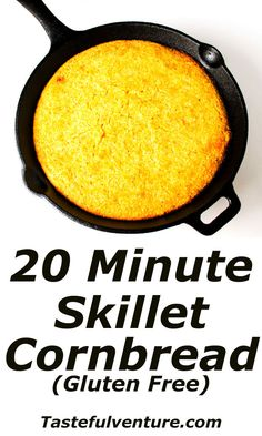 20 Minute Skillet Cornbread (Gluten Free) that is super easy to make and is so addicting! Gluten Free Diet, Gluten Free Baking, Gluten Free Desserts, Gluten Free Recipes, Bread Recipes, Gluten Free Cornbread, Skillet Cornbread, Bigger Bolder Baking, Fructose Free