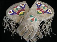 Old Vintage c1920 Nez Perce Indian Beaded Gauntlets Fringe Gloves Cowboy Cowgirl | eBay