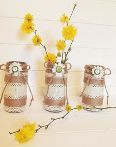 Jute & Hessian Set of 3 Wrapped Jars, Handmade, Wedding, Table Centrepiece, Home Decor, Vase, Vintage Style Decorated Jars, Country Chic, by LADecor on Etsy