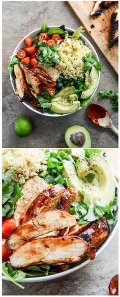 HONEY CHIPOTLE CHICKEN BOWLS - easy, delicious and served with lime quinoa! I howsweeteats.com #honeychipotle #chickenbowls #salad #easymeal