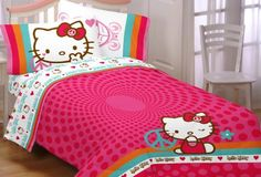 $31.95 Sanrio Hello Kitty Peace Kitty Twin Sheet Set  From Sanrio   Get it here: http://astore.amazon.com/allaboutyourbed-20/detail/B006N9JZIU/190-8713752-2043460