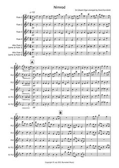 Nimrod (from the Enigma Variations) for Flute Quartet