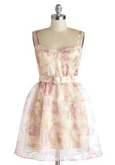 Springing Telegram Dress. On your birthday, you pull out all the stops, starting by fancying up in the sheer, burnout overlay of this floral dress! #multi #wedding #bridesmaid #modcloth