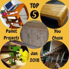 You've survived the holidays and dug out from under the snow. While you're waiting for your paperwork for your taxes, why not build one of these Top 5 Pallet Projects of January You chose them, so get out there and build them! Pallet Stairs, Pallet Door, Pallet Decking, Pallet Shed, Pallet Planters, Pallet Walls, Used Pallets, 1001 Pallets, Recycled Pallets