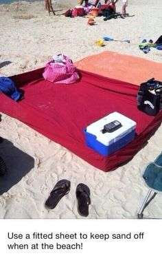 Use a Fitted Sheet to keep sand off at the beach (whether ocean or lake), genius! Why didn't I think of that?!