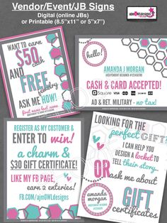 Vendor / Event / JB Signs - Digital or Printable - Origami Owl Inspired by ajmOWLdesigns on Etsy
