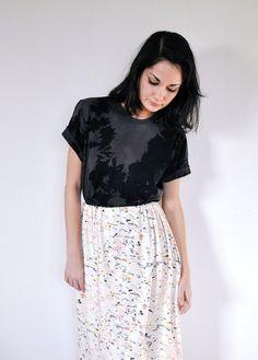 Black and Charcoal Shadow Hand Dyed T Shirt by KarinaManarin, $36.00