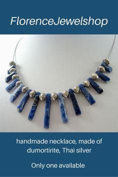Blue dumortirite necklace, handmade beaded light weight choker, gemstone semi precious beads of dumortirite, silver, magnetic clasp
