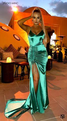Silk Satin Dress, Satin Dresses, Prom Dresses, Formal Dresses, Studio Minc, Green Satin, Stretch Satin, Formal Prom, Skin Tight