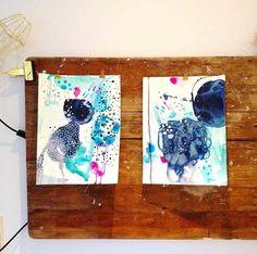 Paper paintings  by Mette Lindberg. www.mettesmaleri.dk