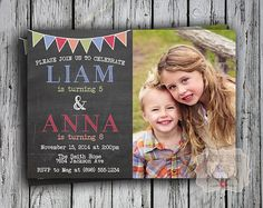 Brother and sister joint birthday party invitations google search twins birthday invitation joint birthday party invite friends birthday invitation double birthday party two kids digital file print filmwisefo