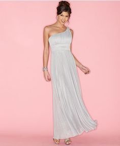Grey Speechless Dress, Sleeveless Pleated Glitter One Shoulder Gown at Macy's