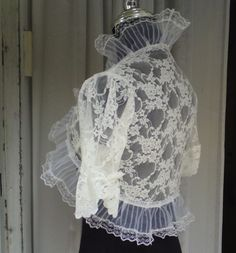 ROMANTIC ivory lace bridal bolero jacket lace by maryandangelika, $72.90
