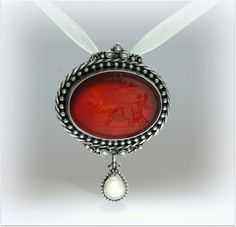 Pendant-brooch with hand engraved intaglio by DetelinaCameo