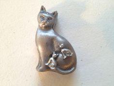 Vintage Signed TORINO Pewter CAT Kitty Nesting Trinket Earrings Brooch Pin/Lid  #Torino