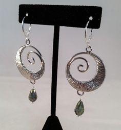 Silver Swirl and Crystal Earrings