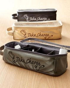 "Tired of electronics cords getting tangled or lost in totes or luggage or at home? This ""Take Charge"" charger organizer lets you keep chargers in individual compartments for easy access."