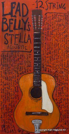 Lead Belly Stella Acoustic 12 string 11x17 UNframed guitar art print. | Reverb
