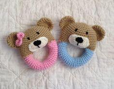 Bear Rattle/ Plush Toy/ Stuffed Toy / Soft by mamamegsyarnshoppe