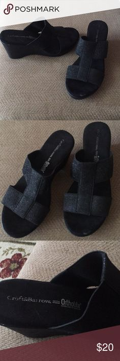 Croft and Barrow wedge sandals Croft and Barrow wedge sandals black and slightly sparkly. Great condition and very comfy. Woman's size 8.5 croft & barrow Shoes Wedges