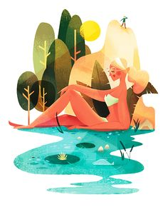 Summer Sketch on Behance Flat Design Illustration, People Illustration, Landscape Illustration, Character Illustration, Digital Illustration, Graphic Illustration, A4 Poster, Design Graphique, Illustrations And Posters