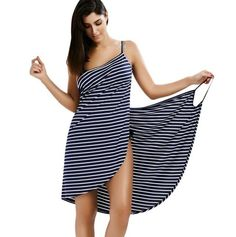 Gender: WomenDresses Length: Knee-LengthNeckline: V-NeckSilhouette: A-LineSleeve Style: Spaghetti StrapSeason: SummerStyle: CasualMaterial: Polyester,SpandexSleeve Length(cm): SleevelessPattern Type: StripedBrand Name: GAMISSDecoration: NoneModel Number: Open Back Striped Cover-ups DressWaistline: Naturaloccasion: work wear,daily,party,cocktail,sexy club,office,OL,work wearseason: spring, summer,autumnstyle: fashion,casual,vintage,retro,sexy,tunic,bodycon,bandage,elegant,pencilgender…