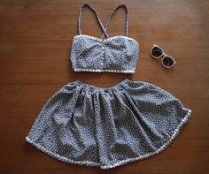 Black and Cream/ Off White Crop and Skirt Twin Set With Daisy Trim and Pearl Buttons by AlteredStatesAu on Etsy