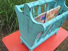 Bright Blue Distressed Magazine Rack by sherbieherbie on Etsy, $39.00