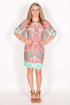 Julia 3/4 Sleeve Crew Neck Shift Dress-Coral By Tracy Negoshian