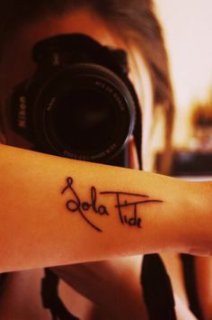 I'm seriously considering getting a tattoo that says sola fide at some point in my life. In explaining it, you could fit in the entire Gospel. First Tattoo, Get A Tattoo, Tattoo Art, Girl Tattoos, Tatoos, Sola Fide, Alone Tattoo, My Heart Is Yours, Make Your Mark