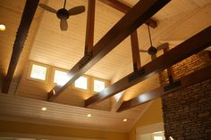 High living room ceiling with clerestory windows and beams.   to see more of the project, visit http://studioduo.net