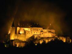 Ufff castle at night, vianden, luxembourg